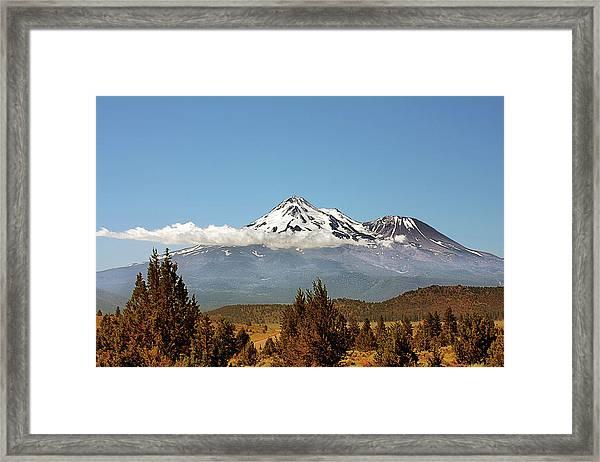 Family Portrait - Mount Shasta And Shastina Northern California Framed Print
