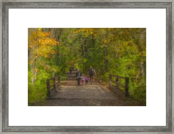 Family Walk At Borderland Framed Print