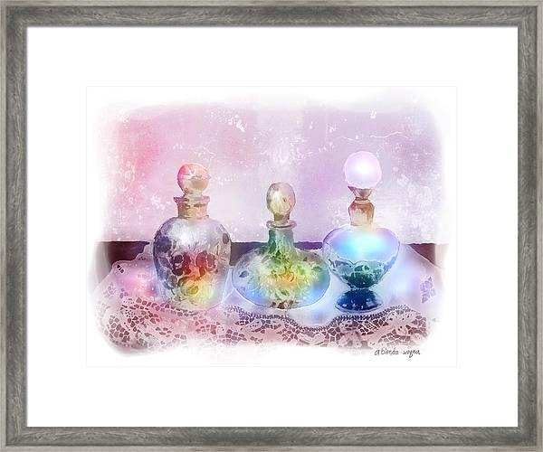 Fancy Perfume Bottles Framed Print