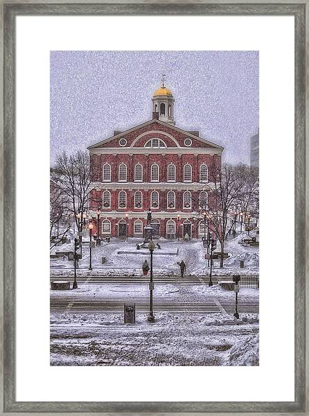 Faneuil Hall Snow Framed Print