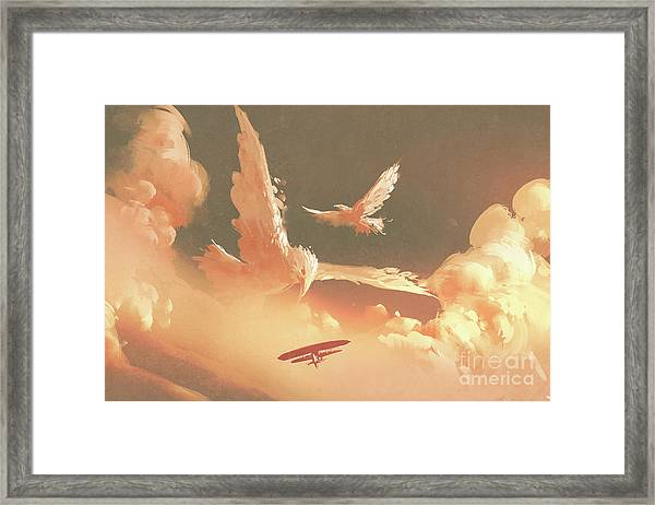 Framed Print featuring the painting Fantasy Sky by Tithi Luadthong