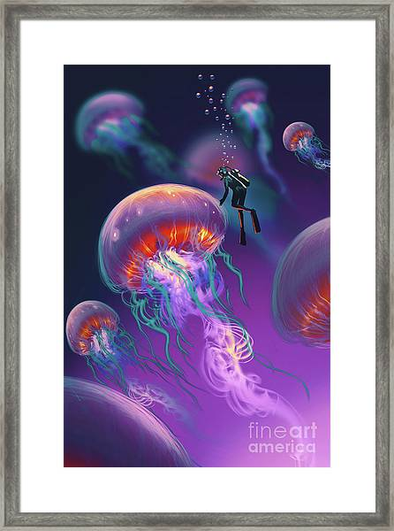 Framed Print featuring the painting Fantasy Underworld by Tithi Luadthong