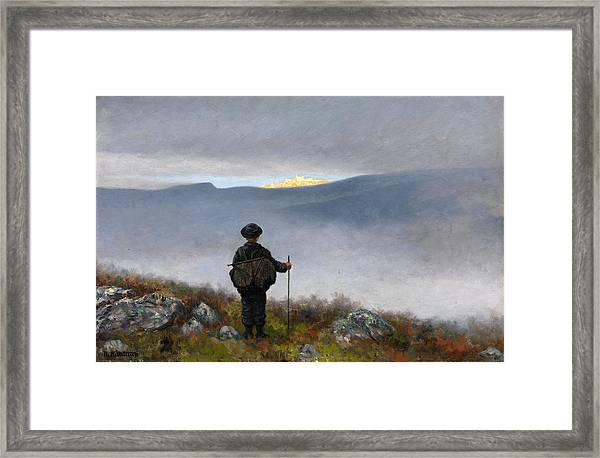 Framed Print featuring the painting Far Far Away Soria Moria Palace Shimmered Like Gold by Theodor Kittelsen