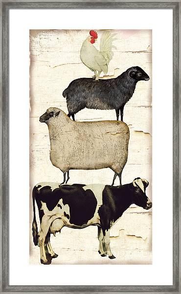 Farm Animals Pileup Framed Print