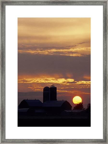 Farm At Sunset Framed Print