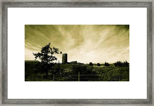 Farm By The Sea Framed Print