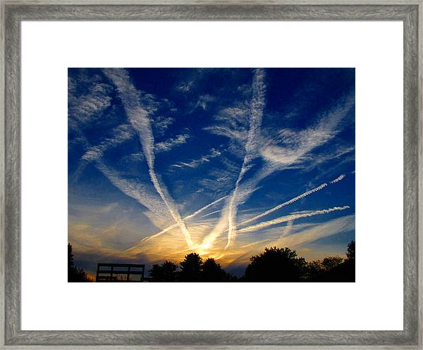Farm Evening Skies Framed Print