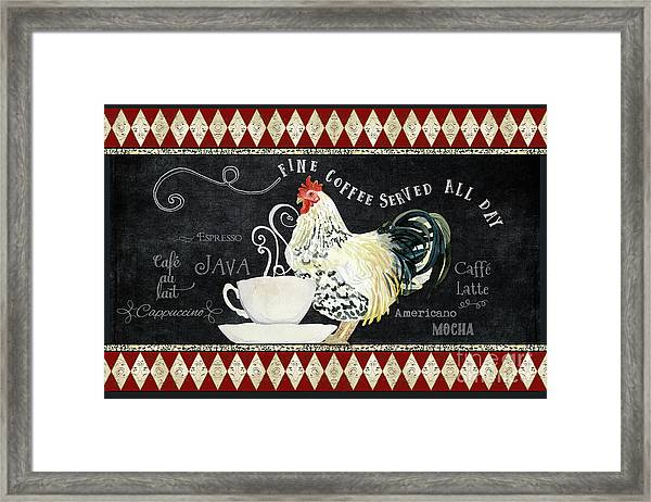 Farm Fresh Rooster 5 - Coffee Served Chalkboard Cappuccino Cafe Latte  Framed Print