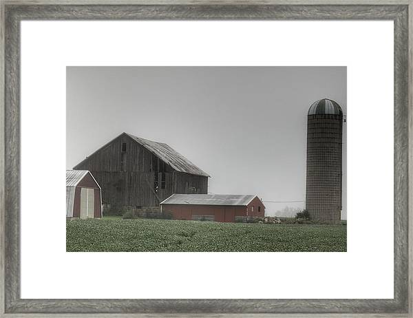 0011 - Farm In The Fog II Framed Print