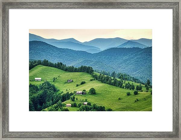 Farm In The Mountains - Romania Framed Print