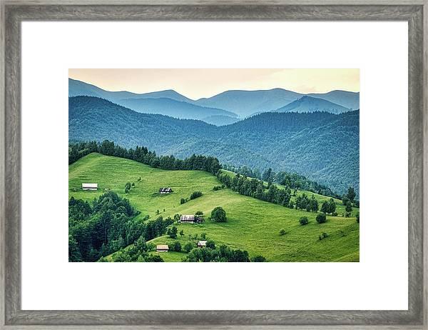Farm In The Mountains - Romania Framed Print