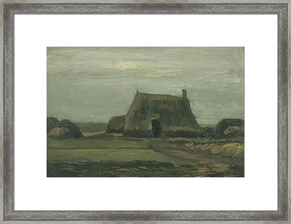 Farm With Stacks Of Peat November 1883 - 1883 Framed Print