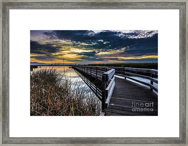Farmington Bay Sunset - Great Salt Lake Framed Print