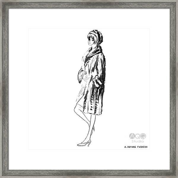 Fashion Girl In Fur Coat Framed Print