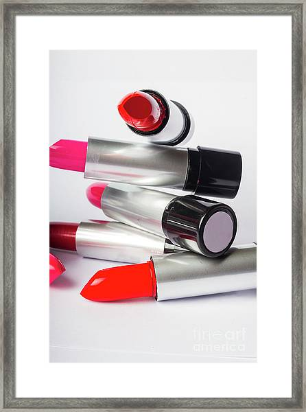 Fashion Model Lipstick Framed Print