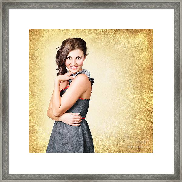Fashionable Girl In Classic 50s Style Clothing Framed Print