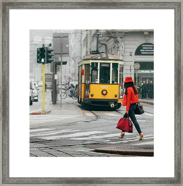 Fashionista In Milan, Italy Framed Print