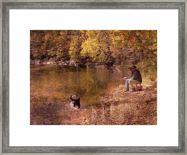 Father,son And Dog Framed Print