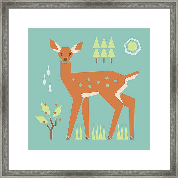 Fawn In The Meadow Framed Print