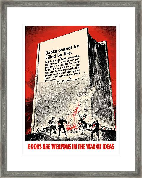 Fdr Quote On Book Burning  Framed Print