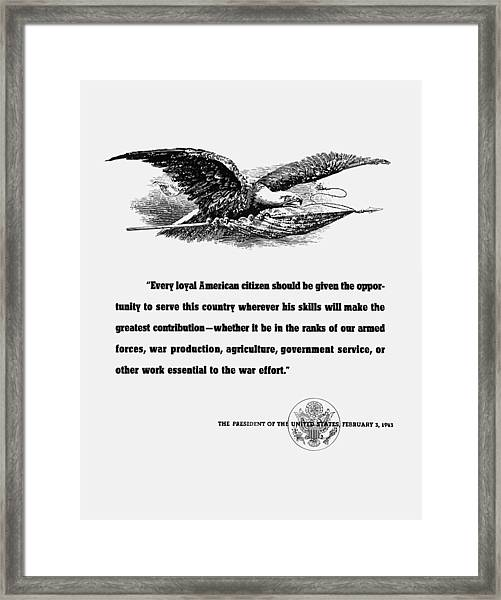 Fdr War Quote Framed Print