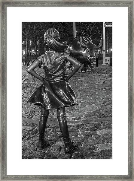 Fearless Girl And Charging Bull Nyc Framed Print