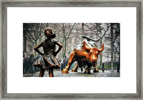 Fearless Girl And Wall Street Bull Statues Framed Print