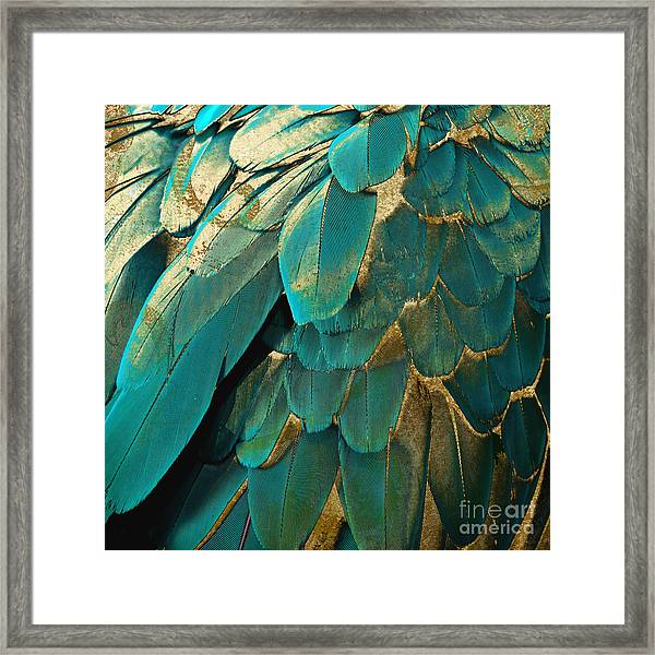 Feather Glitter Turquoise Framed Print