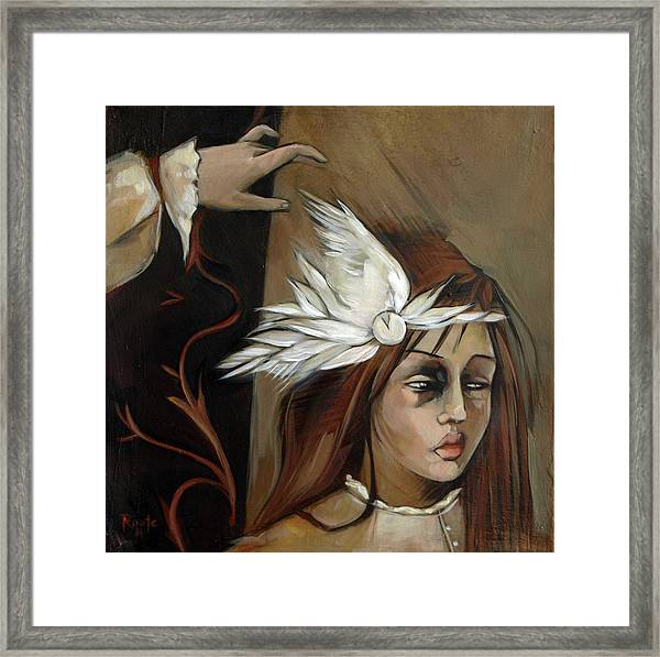 Feathers On Broken Girl Framed Print by Jacque Hudson