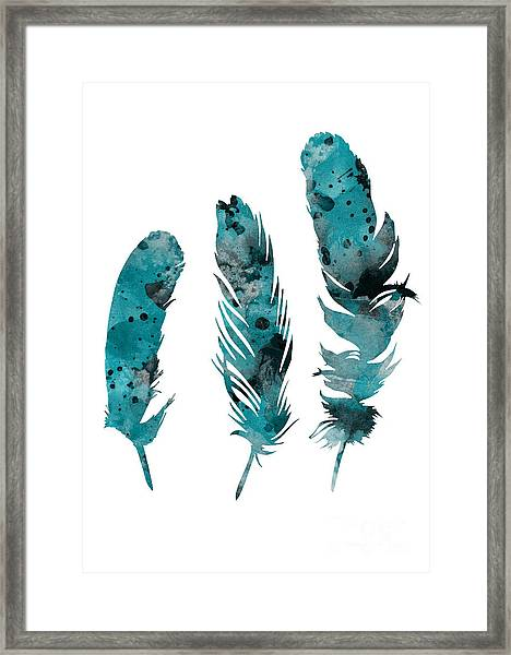 Feathers Watercolor Painting Framed Print