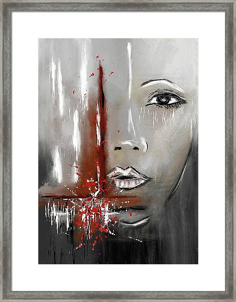 Female Half Face On Grey Abstract Framed Print