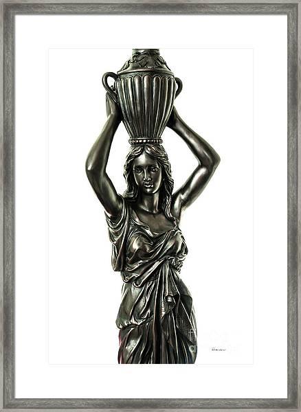 Female Water Goddess Bronze Statue 3288a Framed Print