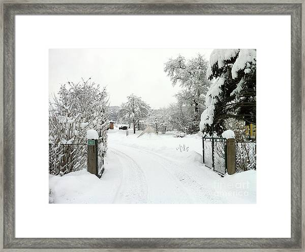 Fence And  Gate In Winter Framed Print