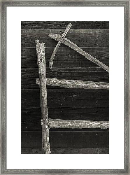 Fence And Wall Framed Print