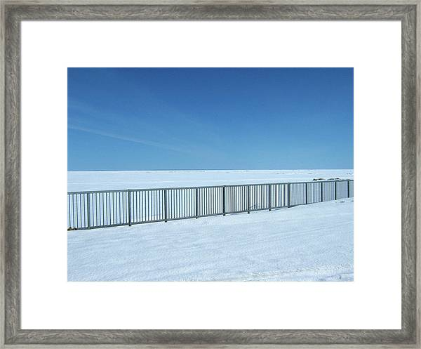 Fence In Snow Framed Print