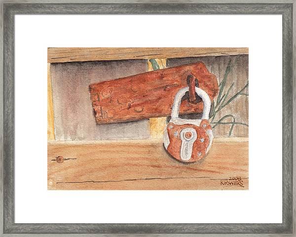 Fence Lock Framed Print