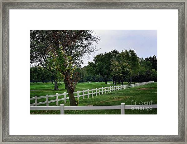 Fence On The Wooded Green Framed Print