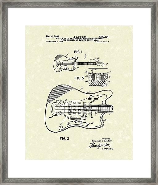Fender Guitar 1966 Patent Art Framed Print