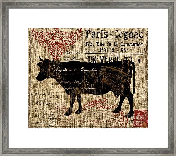 Ferme Farm Cow Framed Print