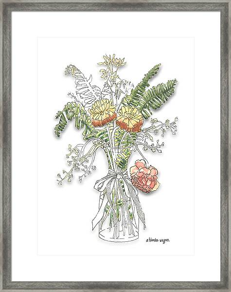 Ferns And Flowers Framed Print