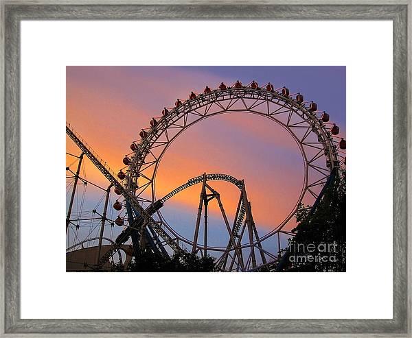Ferris Wheel Sunset Framed Print