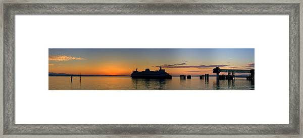 Ferry Boat Arrives To Mukilteo Ferry Terminal Framed Print