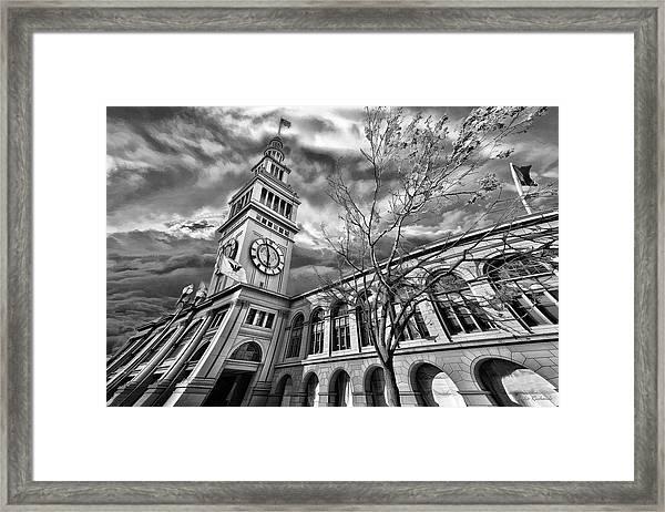Ferry Building Black  White Framed Print