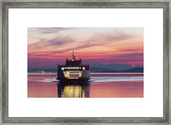 Ferry Issaquah Docking At Dawn Framed Print