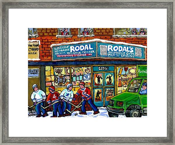Fiddler On The Roof Painting Canadian Art Jewish Montreal Memories Rodal Gift Shop Van Horne Hockey  Framed Print