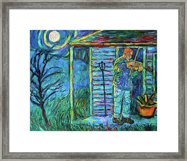 Fiddling At Midnight's Farm House Framed Print