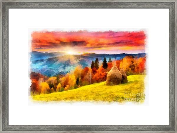 Field Of Autumn Haze Painting Framed Print
