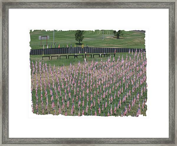 Field Of Flags - Gotg Arial Framed Print