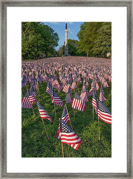 Field Of Flags At Boston's Soldiers And Sailors Monument Framed Print