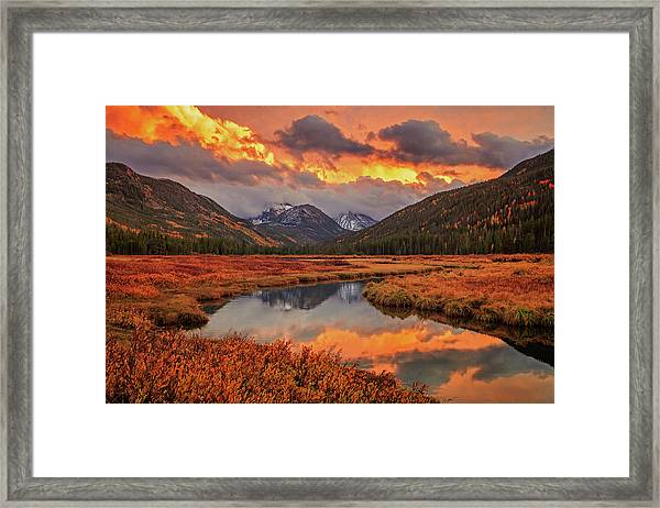 Fiery Bear River Sunset Framed Print by Johnny Adolphson